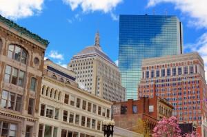 Cityscape in Back Bay Boston, Massachusetts, USA.
